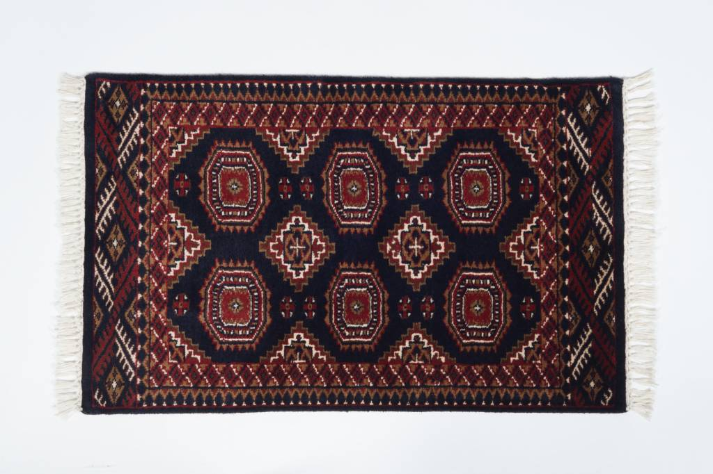2' x 3' Indian Handmade Navy Blue/Red Cashmere Rug