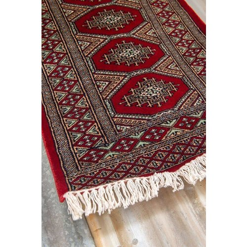 2' x 3' Indian Handmade Red/Turquoise Cashmere Rug