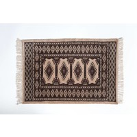 2' x 3' Indian Handmade Tan/Olive Green Cashmere Rug