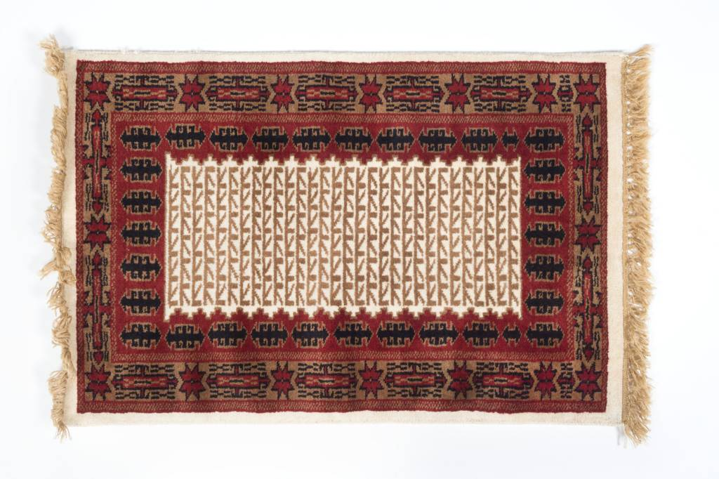 2' x 3' Indian Handmade Tan/Red Pashmina Rug