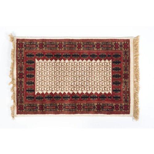 2' x 3' Indian Handmade Tan/Red Pashmina Rug