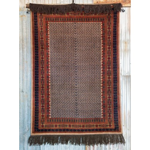 Indian Handmade Navy Blue Pashmina Rug