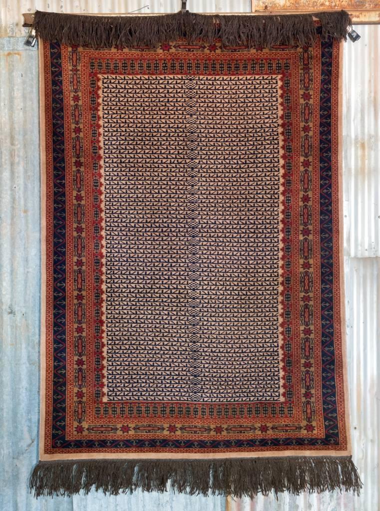 Indian Handmade Navy Blue Pashmina Rug