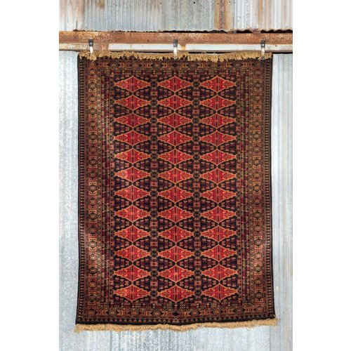 5' x 7' Indian Handmade Red/Black Pashmina Rug