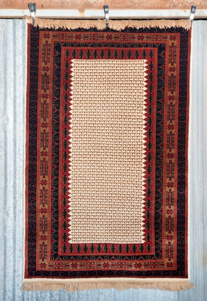 6' x 4' Indian Handmade Cream/Red Pashmina Rug