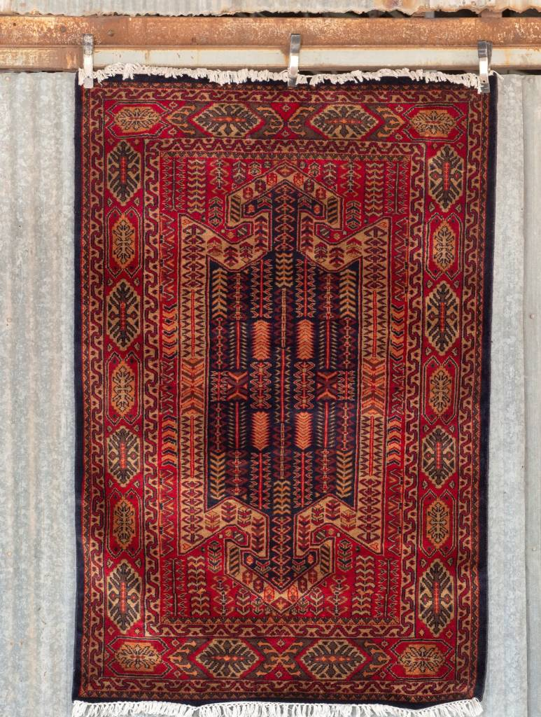 6' x 4' Indian Handmade Double Arrow Red Cashmere Rug
