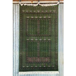6' x 4' Indian Handmade Green Cashmere Rug