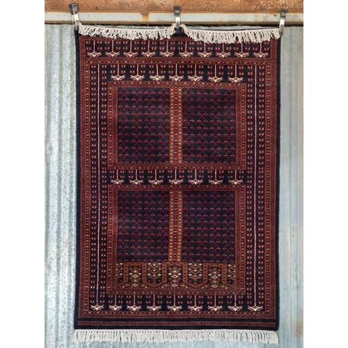 6' x 4' Indian Handmade Navy Blue/Red Cashmere Rug