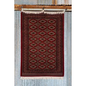 6' x 4' Indian Handmade Red Cashmere Rug