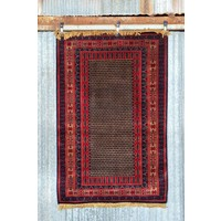 6' x 4' Indian Handmade Red Pashmina Rug