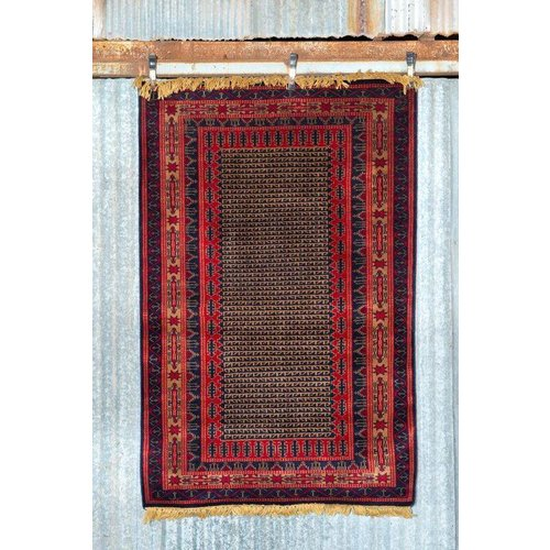 6' x 4' Indian Handmade Red Pashmina Rug