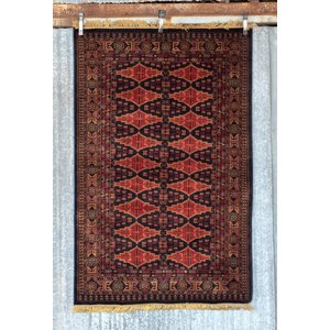 6' x 4' Indian Handmade Red/Black Pashmina Rug