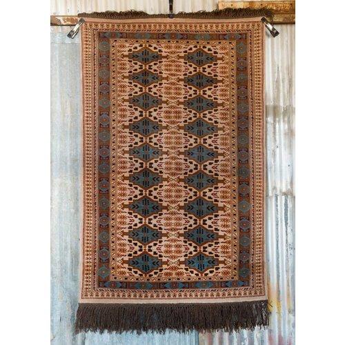 6' x 4' Indian Handmade Tan/Light Blue Pashmina Rug