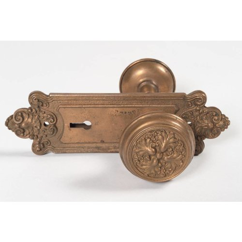 Art Nouveau Door Knob and Escutcheons Set
