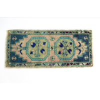 Handmade Vintage Turkish Rug - Blue and Green