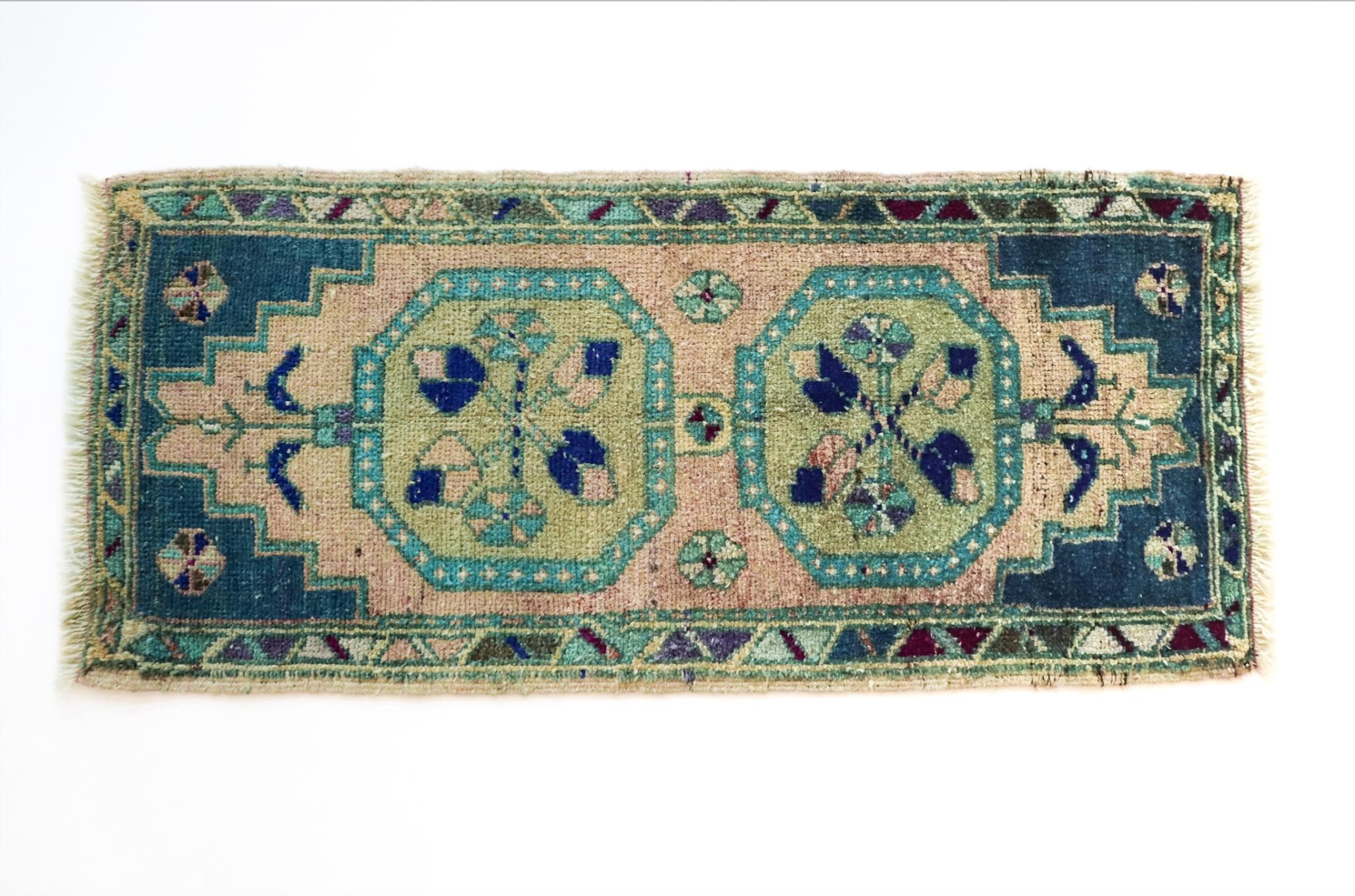 Handmade Vintage Turkish Rug - Blue and Green