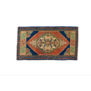 Handmade Vintage Turkish Rug - Blue and Orange