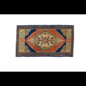 Handmade Vintage Turkish Rug - Blue and Orange