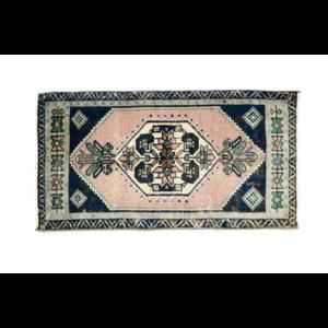 Handmade Vintage Turkish Rug - Blue and Pink