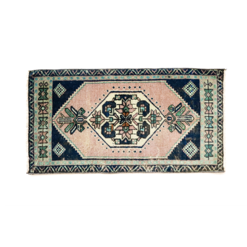 Handmade Vintage Turkish Rug - Blue and Pink