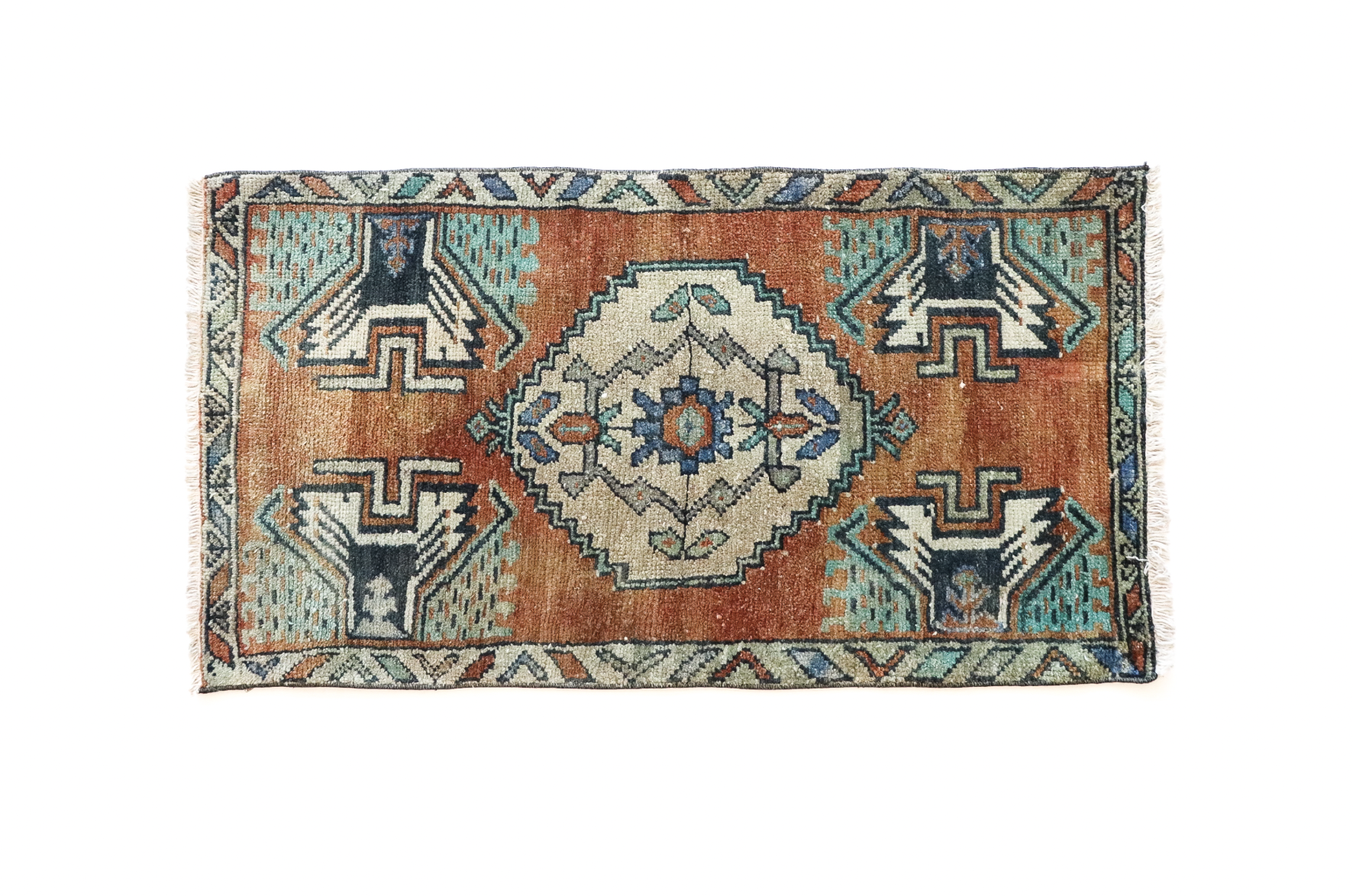 Handmade Vintage Turkish Kilim Rug - Orange and Green