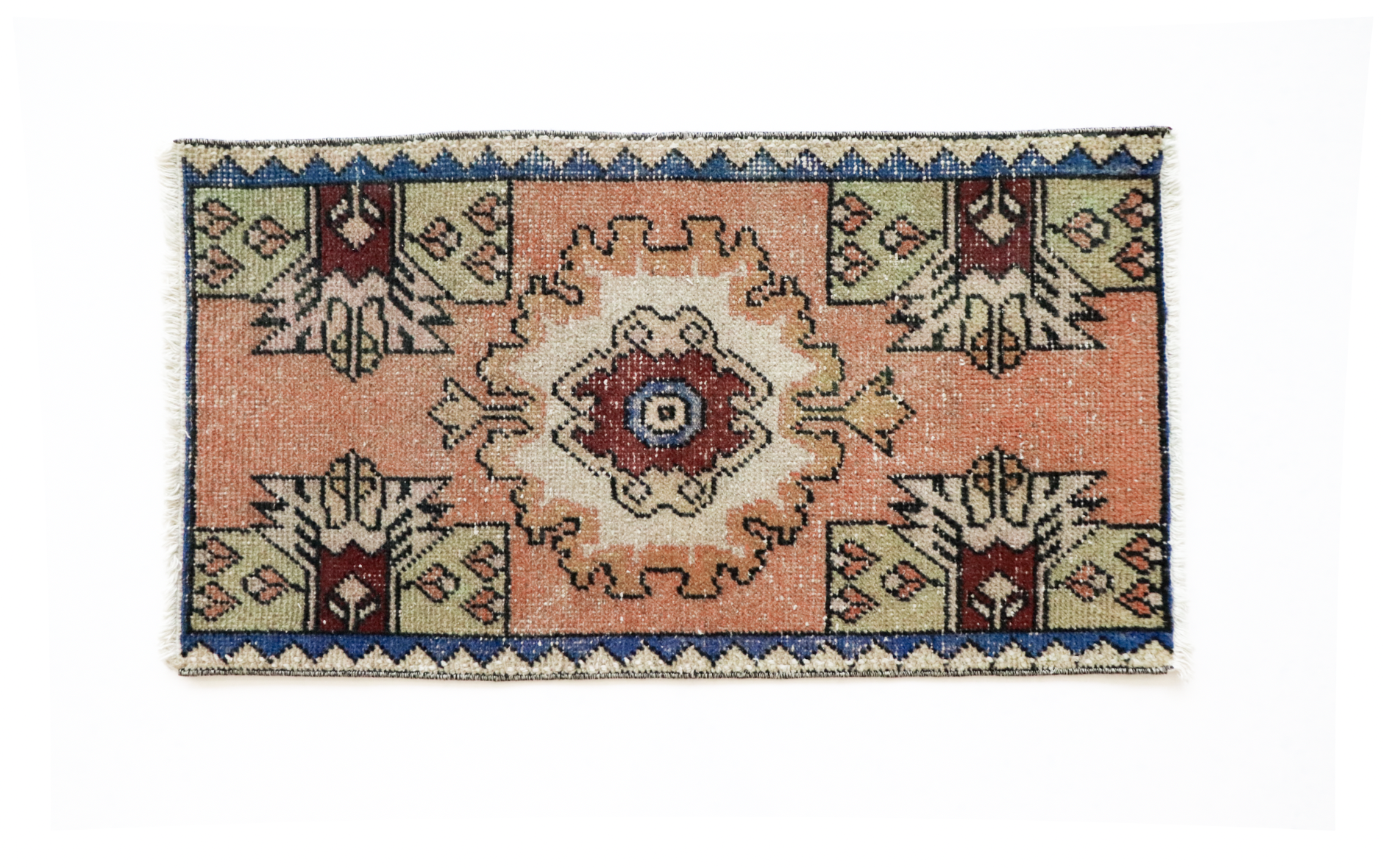 Handmade Vintage Turkish Kilim Rug - Orange and Blue