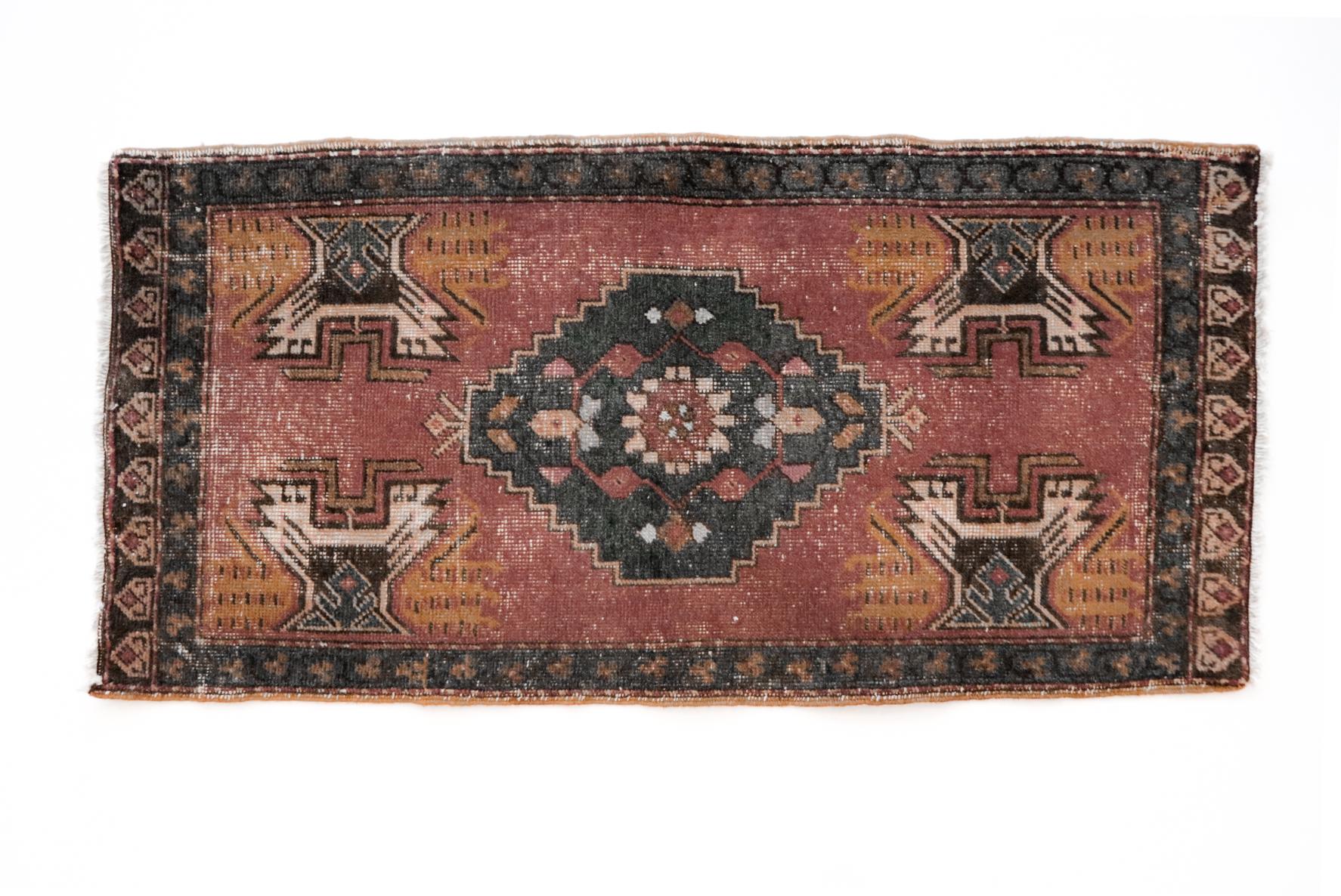 Handmade Vintage Turkish Kilim Rug - Red and Blue