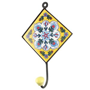 Yellow Ceramic Floral Tile Hook from India
