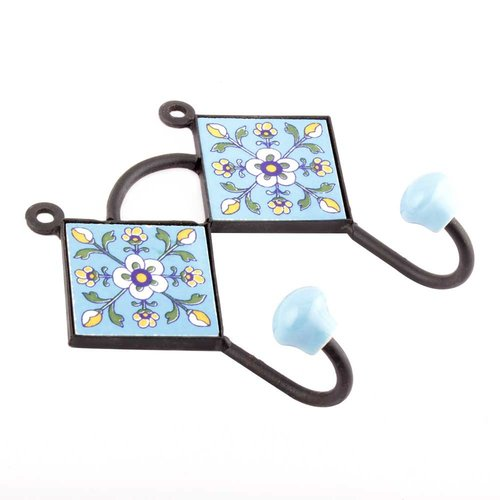 Turquoise Navy Blue Floral Tile Hook from India