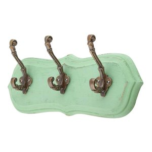 Iron Wall Hooks with Green Base from India