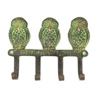 Wise Owl Wall Hook with Patina from India
