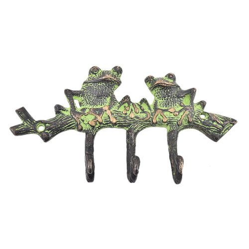 Two Bronze Patina Green Frogs Hook from India