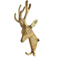 Brass Deer Head with Two Hook from India