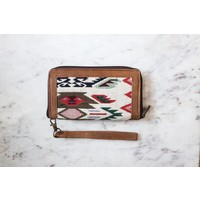 See you in Coachella! Leather & Fabric Clutch