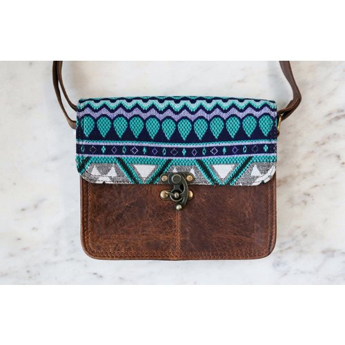 Beach Vibes Only! Fabric and Leather Bag