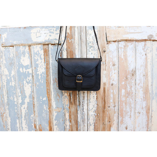 Black Square Leather Bag