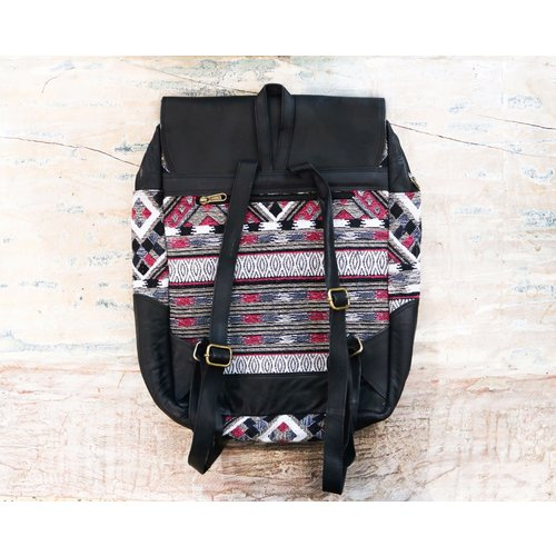 Take Me Around World Leather Backpack
