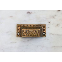 Eastlake Brass Rectangular Pull with Flower Emblem