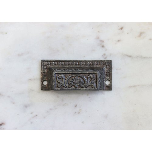 Eastlake Rectangular Pull with Flower Emblem