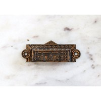 Brass Eastlake Rectangular Pull with Triangle Emblem
