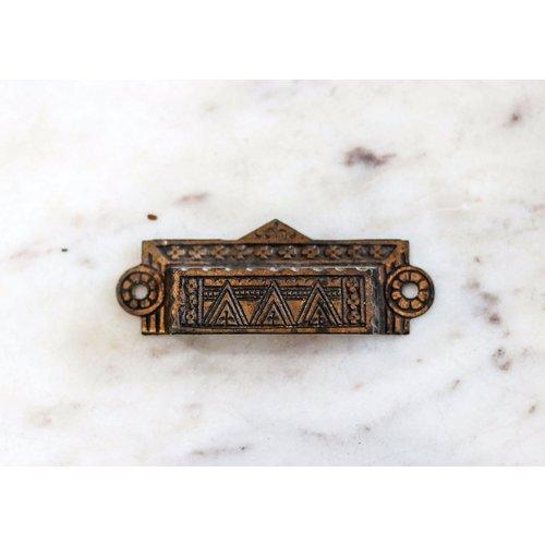 Brass Eastlake Rectangular Pull with Triangle Emblem