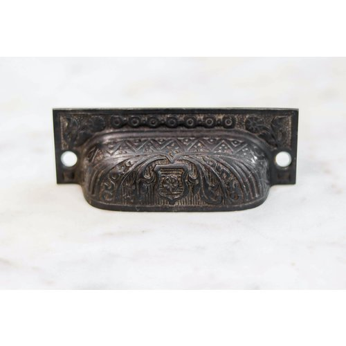 Eastlake Rectangular Pull with Shield Emblem