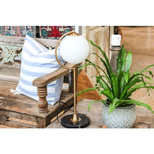 Modern Nordic Table Lamp with Milk White Glass Globe