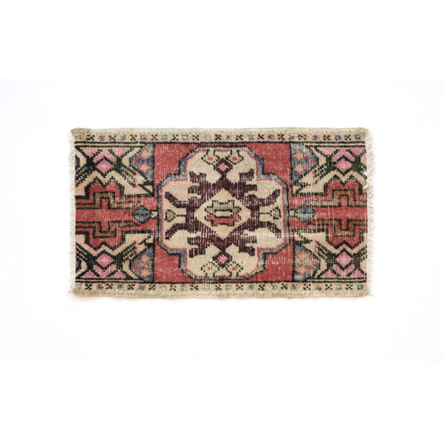 Handmade Vintage Turkish Kilim Rug - Red and White