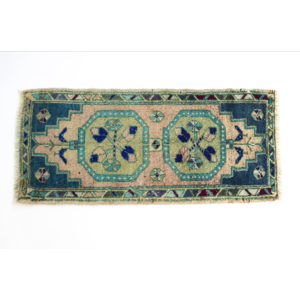 Handmade Vintage Turkish Kilim Rug - Blue and Green