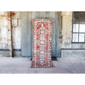 Handmade Vintage Turkish Rug Runner - Red and Blue