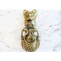 Large Brass Cat and Peacock Door Knocker from India