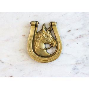 Brass Horse and Shoe Door Knocker from India