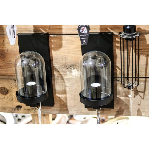 Black Industrial Sconce Light with Glass Dome Globe