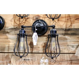 Black Industrial Sconce Lights with Cages